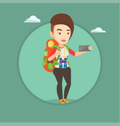 woman with backpack making selfie vector image vector image