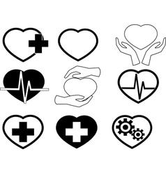 Cardio icons vector
