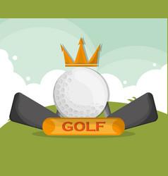 golf ball crown clubs emblem vector image vector image