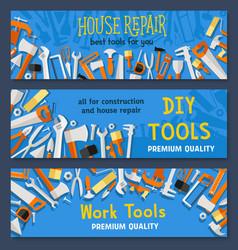 house repair work tools banners set vector image vector image