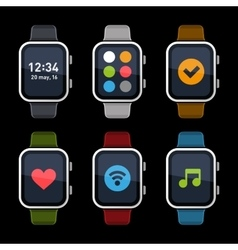 Smart Watch Icons Set Flat Style vector image vector image