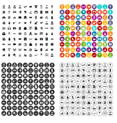 100 family icons set variant vector