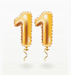 11 years golden aluminum foil balloon anniversary vector image