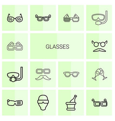 14 glasses icons vector image