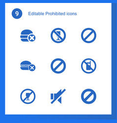 9 prohibited icons vector