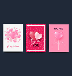 a set of cards for the celebration of valentine s vector image