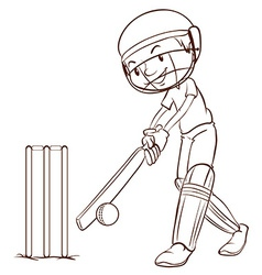 A simple sketch of a man playing cricket vector image