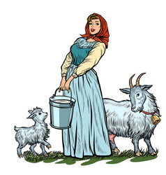 A village woman with bucket milk goats isolate vector