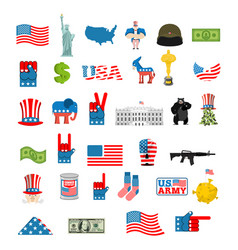american icon set national sign of america usa vector image vector image