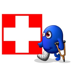 An injured monster near red cross signage vector