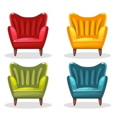 Armchair soft colorful homemade set 3 vector