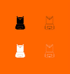 backpack black and white set icon vector image
