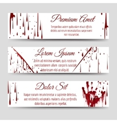 Bloody handprint and scratch banners vector