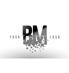 Bm b m pixel letter logo with digital shattered vector