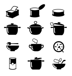 Bowl can and pot black icons set Soup symbols vector image