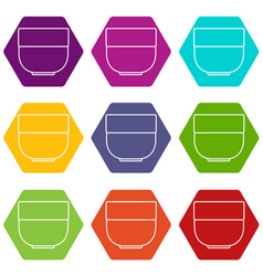 bowl icons set 9 vector image