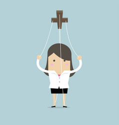 businesswoman marionette on ropes vector image
