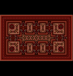 Carpet with vintage ornament in red and brown vector