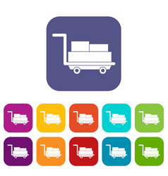 Cart with luggage icons set flat vector