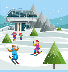 cartoon skiers on ski lift station on the top of vector image