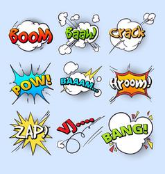cartoon speech bubbles explode bang sound vector image