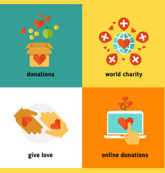Charity and donation social help services vector