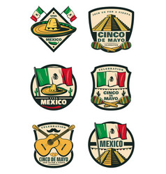 Cinco de mayo mexican holiday retro sketch icons vector