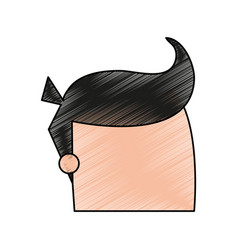 Color pencil cartoon faceless man with hairstyle vector