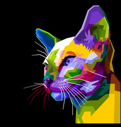 colorful siamese cat on pop art style vector image
