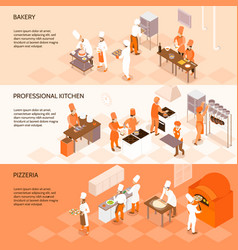 Cooking horizontal isometric banners vector
