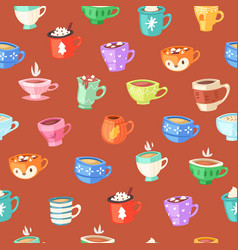 cups seamless pattern drink coffee wallpaper vector image