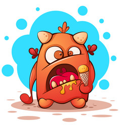 cute funny crazy cartoon character monster with vector image