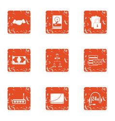 Data finance icons set grunge style vector