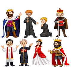 Different characters of king and priest vector image