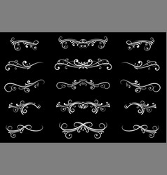 Dividers white filigree floral decorations on vector