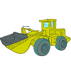 Drawn colored excavator on white vector