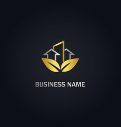 eco leaf building arrow business gold logo vector image