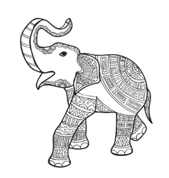 Elephant black and white doodle print with ethnic vector