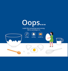 error page on kitchen background vector image