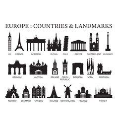Europe countries landmarks silhouette vector