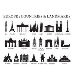 europe countries landmarks silhouette vector image