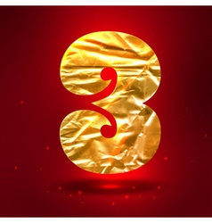 Figure 3 made of golden crumpled foil vector image