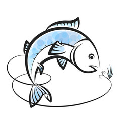 Fish and bait with fishing line vector