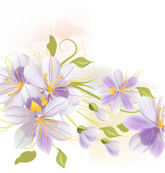 Floral design with purple stylized flowers vector