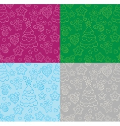 Funny seamless christmas background vector image