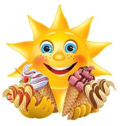 Funny sun with delicious ice creams vector image