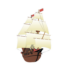 galleon isolated on white background vector image