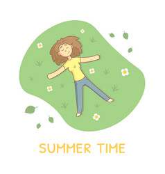 Girl lying on green grass in park and relaxing vector