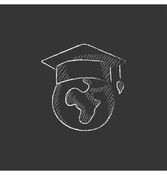 Globe in graduation cap Drawn in chalk icon vector image
