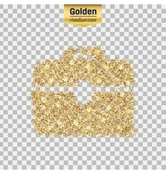 Gold glitter icon of briefcase isolated on vector